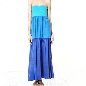 Susana Monaco Blue Colorblock Strapless Maxi Dress